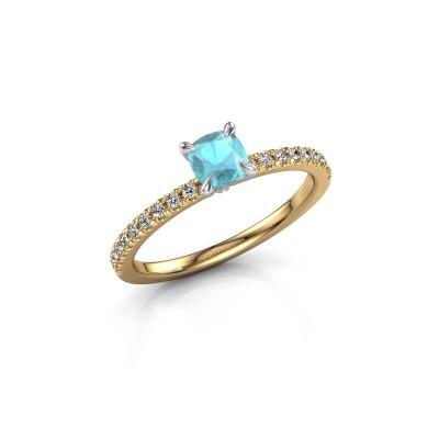 Verlobungsring Crystal CUS 2 585 Gold Blau Topas 5 mm