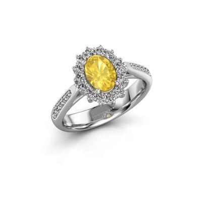Verlovingsring Margien 2 925 zilver gele saffier 7x5 mm