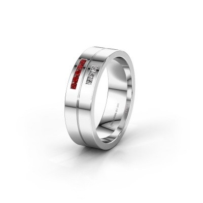 Wedding ring WH0207L16AP 950 platinum ruby ±0.24x0.07 in
