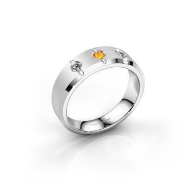Foto van Heren ring Remco 375 witgoud citrien 2.7 mm