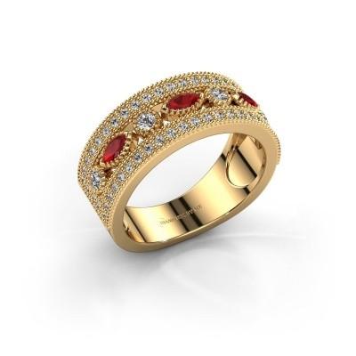 Ring Henna 375 goud robijn 4x2 mm