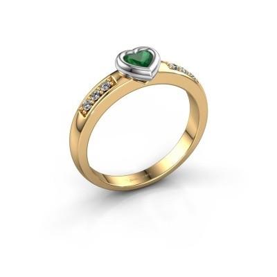 Foto van Verlovingsring Lieke Heart 585 goud smaragd 4 mm