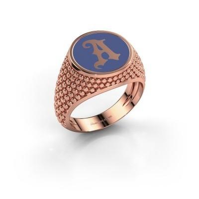 Foto van Monogram ring Zachary 375 rosé goud blauwe emaille