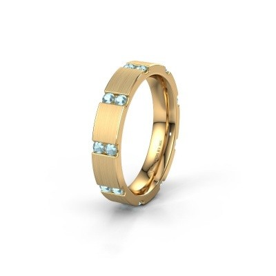 Huwelijksring WH2132L14BM 375 goud aquamarijn ±4x2.2 mm