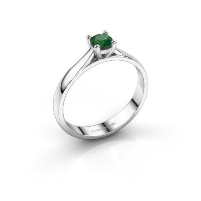 Foto van Verlovingsring Sam 585 witgoud smaragd 4.2 mm