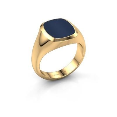 Foto van Zegelring Benjamin 2 585 goud donker blauw lagensteen 13x11 mm