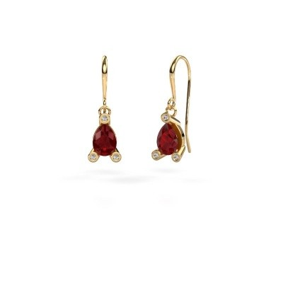 Drop earrings Bunny 1 585 gold ruby 7x5 mm