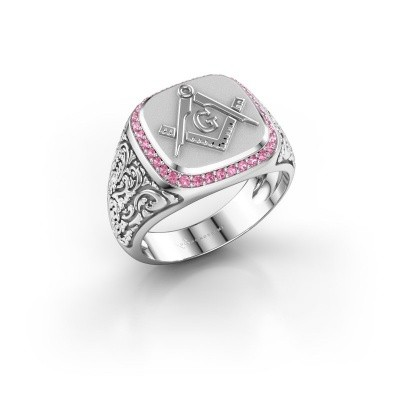 Picture of Men's ring Hugo 375 white gold pink sapphire 1.2 mm