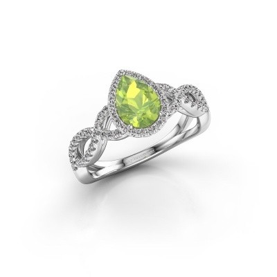Engagement ring Dionne pear 950 platinum peridot 7x5 mm