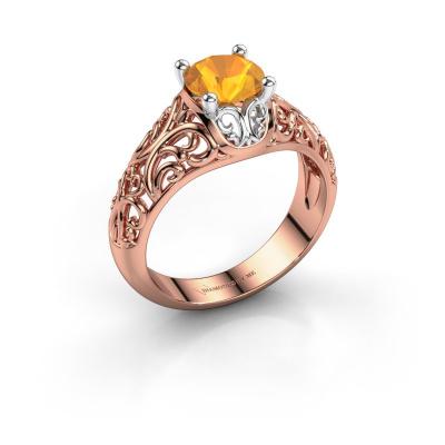 Ring Mirte 585 rosé goud citrien 6.5 mm