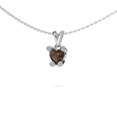 Foto van Ketting Cornelia Heart 585 witgoud rookkwarts 6 mm
