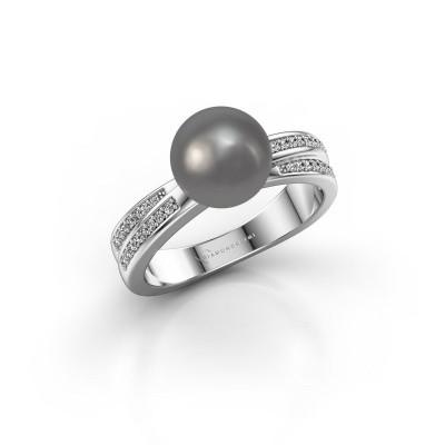 Foto van Ring Jolies 925 zilver grijze parel 8 mm