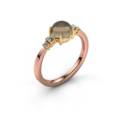 Ring Regine 585 rosé goud rookkwarts 6 mm