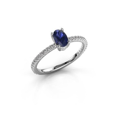 Picture of Engagement ring Lynelle 2 925 silver sapphire 6x4 mm