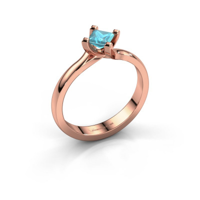 Engagement ring Dewi Square 585 rose gold blue topaz 4 mm