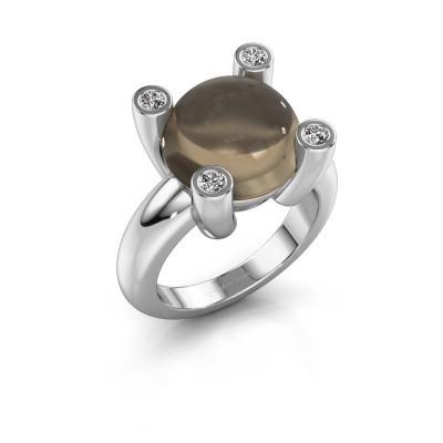 Ring Janice RND 950 platina rookkwarts 12 mm