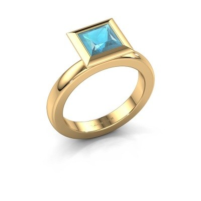 Stapelring Trudy Square 585 goud blauw topaas 6 mm