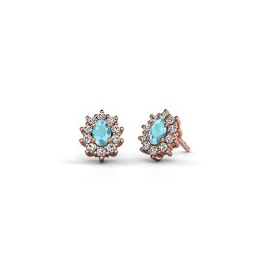 Picture of Earrings Leesa 375 rose gold blue topaz 6x4 mm