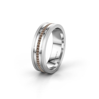 Wedding ring WH0404L16A 585 white gold brown diamond ±6x1.7 mm
