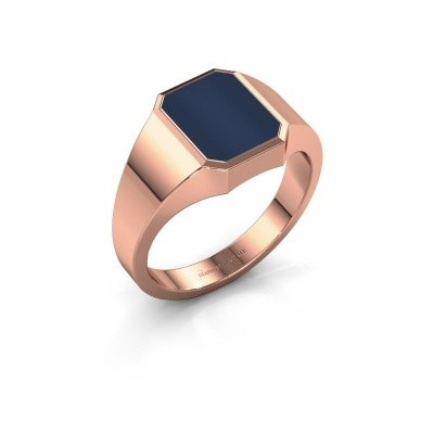 Zegelring Lars 1 F 375 rosé goud donker blauw lagensteen 10x8 mm