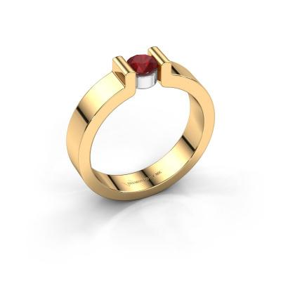 Verlovingsring Isabel 1 585 goud robijn 4 mm
