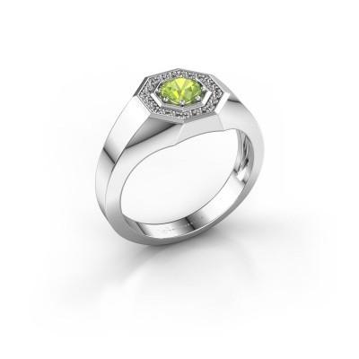 Foto van Heren ring Jaap 375 witgoud peridoot 5 mm