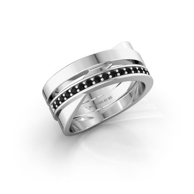 Ring Yolando 585 witgoud zwarte diamant 0.192 crt