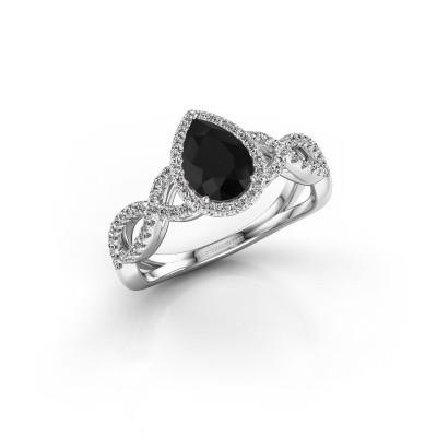 Verlovingsring Dionne pear 925 zilver zwarte diamant 1.34 crt