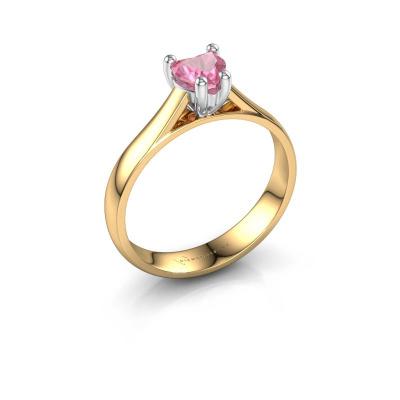 Engagement ring Sam Heart 585 gold pink sapphire 5 mm