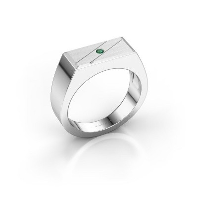 Men's ring Dree 3 925 silver emerald 2 mm