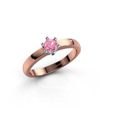 Engagement ring Luna 1 585 rose gold pink sapphire 3.7 mm