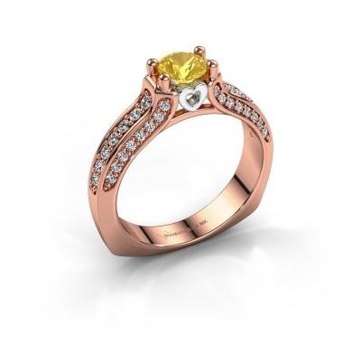 Foto van Verlovingsring Marion 585 rosé goud gele saffier 5 mm