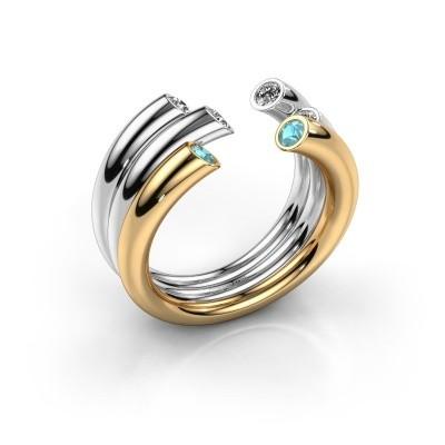 Ring Noelle 585 gold blue topaz 2.4 mm