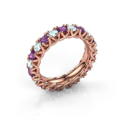 Ring Fenna 585 rosé goud amethist 3 mm