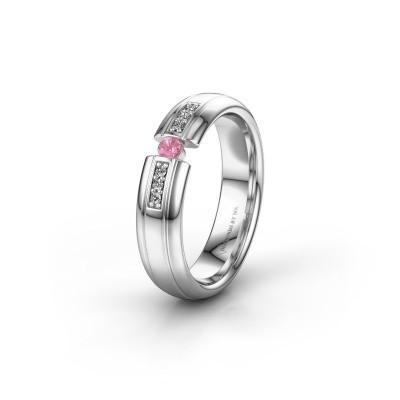 Wedding ring WH2128L26C 950 platinum pink sapphire ±5x2 mm