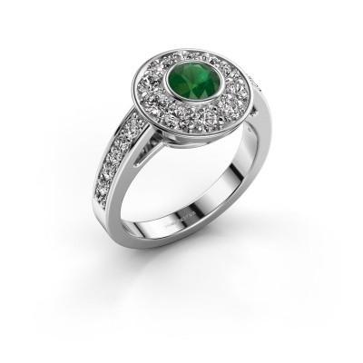 Verlovingsring Raven 2 585 witgoud smaragd 5 mm