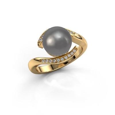 Foto van Ring Dedra 375 goud grijze parel 9 mm