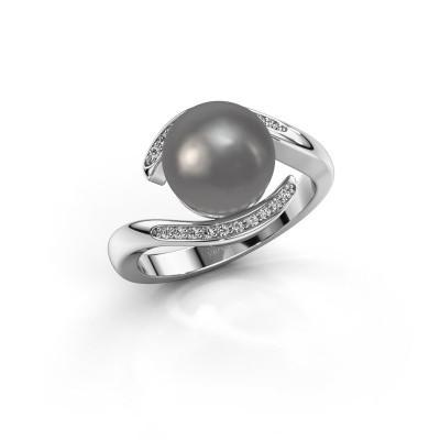 Foto van Ring Dedra 925 zilver grijze parel 9 mm
