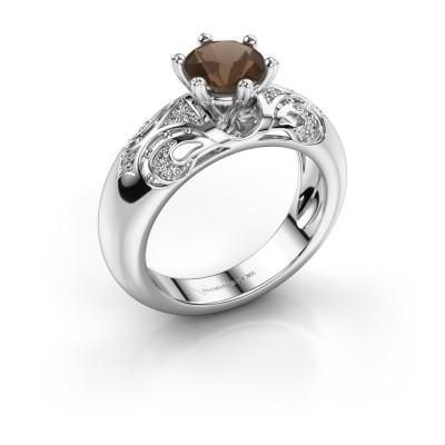 Ring Maya 585 Weißgold Rauchquarz 6.5 mm