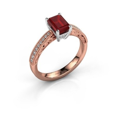 Verlovingsring Shonta EME 585 rosé goud robijn 7x5 mm