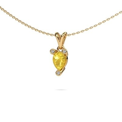 Foto van Ketting Cornelia Pear 375 goud gele saffier 7x5 mm