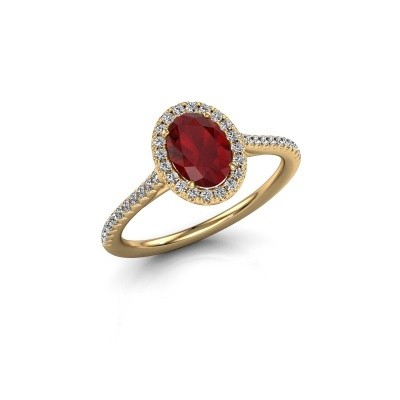 Engagement ring Seline 2 375 gold ruby 7x5 mm