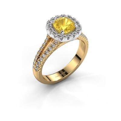 Verlovingsring Francesca 585 goud gele saffier 6 mm