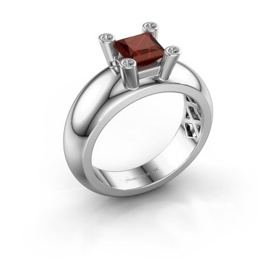Ring Cornelia Square 585 Weißgold Granat 5 mm