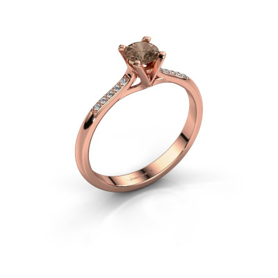Foto van Aanzoeksring Isa 2 585 rosé goud bruine diamant 0.30 crt