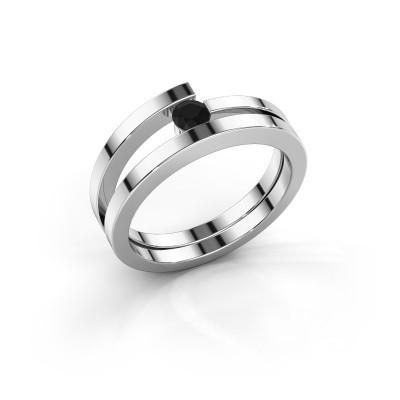 Foto van Ring Sandy 585 witgoud zwarte diamant 0.18 crt