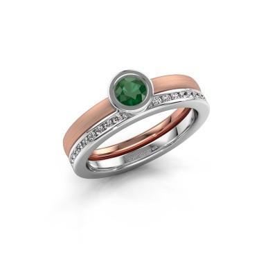 Ring Cara 585 rosé goud smaragd 4 mm