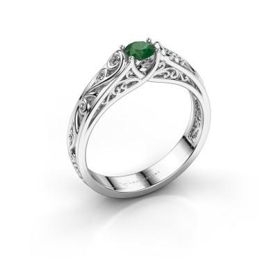Foto van Ring Quinty 925 zilver smaragd 4 mm