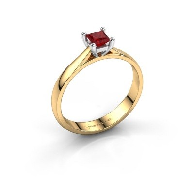 Engagement ring Sam Square 585 gold ruby 4 mm