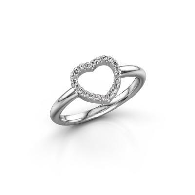 Foto van Ring Heart 7 585 witgoud zirkonia 1 mm